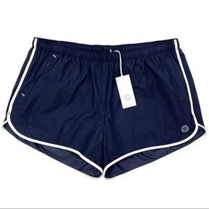 Tory Burch Sport Nylon Track Shorts Navy Blue NEW
